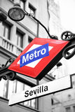 Metro sign in Madrid Royalty Free Stock Images