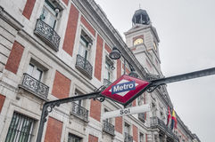 Metro sign at Madrid, Spain Royalty Free Stock Images
