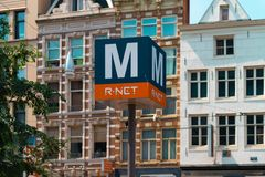 Free Metro Sign, Metro Station Amsterdam Rokin Royalty Free Stock Photography - 154401947