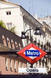 Metro sign for opera station Madrid Spain Royalty Free Stock Image