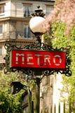 Metro sign in paris. Red metro sign in paris Royalty Free Stock Image