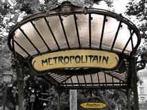 Metro sign in Paris - Abbesses Royalty Free Stock Photo