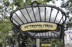 Metro sign in Paris - Abbesses Stock Photography
