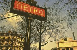 Metro sign paris france Stock Photos