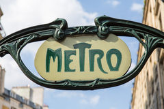 Metro Sign, Paris, France. Vintage Metro Sign, Paris, France Royalty Free Stock Photos