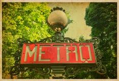 Metro sign in Paris, France. Vintage photo Stock Photo