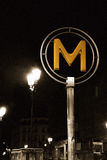 Metro sign in Paris, indicating subway entry Stock Image