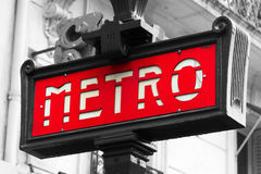 Metro sign Paris. Red street sign which indicates an entrance in metro in Paris, france Royalty Free Stock Photo