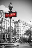 Metro sign for subway transportation in paris Royalty Free Stock Image