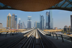 Metro sky line. The view to Dubai city from metro sky line. Dubai, UAE, March 2014 by Victoria Avhustinovych Stock Images