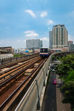 Metro Skytrain runs through the city. Stock Photo