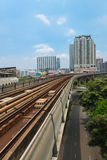 Metro Skytrain runs through the city. Royalty Free Stock Image