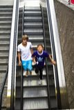 Metro stairs. People entering at the Marienplatz metro entrance in Munich Stock Photo