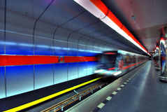 Metro Station. Metro aproaching arriving to station in Prague stock image