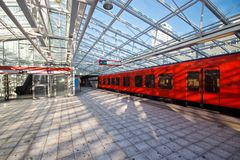 Metro station. Metro subway station with glass roof in Helsinki, Finland royalty free stock photo