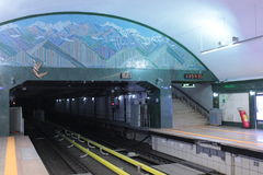 Metro station in Almaty. Former capital of Kazakhstan. An empty subway station stock photos