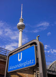 Metro station Berlin Alexanderplatz and Television tower Stock Photo