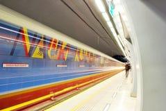 Metro Station. Metro, car queue, subway station, subway passengers, public transport, platform metro, suburban train underground, a network of underground stock photo