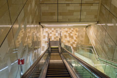 Metro Station in Dubai. The escalator moving at metro station stock photo