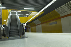 Metro station escalators Royalty Free Stock Image
