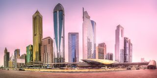 Metro station in Financial district Dubai, UAE stock photography