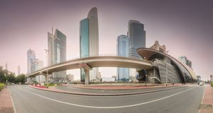 Metro station in Financial district Dubai, UAE stock images