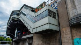 Metro station with graffiti spree river Berlin royalty free stock photography