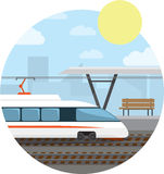 Metro Station. High-speed train at the railway stop. Vector illustration round background Royalty Free Stock Photo