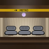 Metro station. Illustration of metro station interior Royalty Free Stock Image