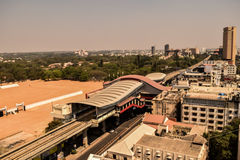 Arial View of Metro Station Bangalore, India. A profile picture of iconic metro station of banglore within Centre of city through it's sky line royalty free stock photography