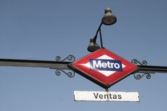 Metro station indicator sign in Madrid. Spain royalty free stock images