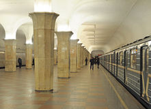 Metro station Kropotkinskaya in Moscow, train Stock Photography