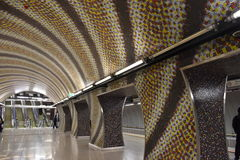Metro Station with mosaics Royalty Free Stock Images