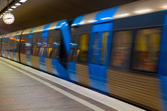 Metro station with motion blur effect Stock Photo
