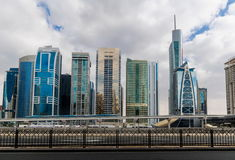 Metro station next to Sheik Zayed road in Dubai Royalty Free Stock Photography