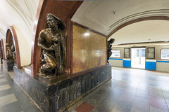 The metro station Ploschad Revolutsii in Moscow, Russia Royalty Free Stock Photography