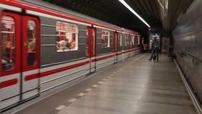 Metro station in prague. PRAGUE, CZECH REPUBLIC - OCTOBER 30, 2016: Train arriving at a metro station in Prague stock footage