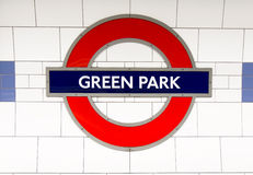 Metro station sign Green Park Stock Photography