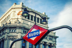 Metro Station Sign in Madrid. Spain stock photo