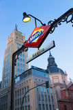 Metro Station Sign in Madrid Spain Royalty Free Stock Photos