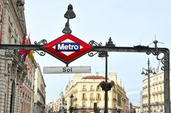 Metro station sign in Madrid Spain. Metro station sign in Plaza del Sol Puerta del Sol central square in Madrid Spain stock photo