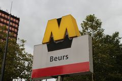 Metro station sign in Rotterdam named `Beurs`. In the Netherlands Royalty Free Stock Photography