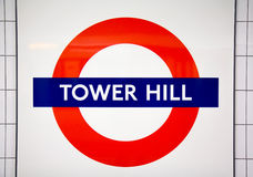 Metro station sign Tower Hill Royalty Free Stock Photography