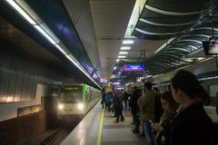 Metro station in Sofia, Bulgaria. Subway train arrives at platform in Metro station in Sofia, Bulgaria stock photo