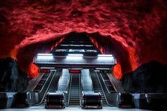 Metro station Solna centrum in Stockholm. Charming metro station in Stockholm, Sweden stock photography