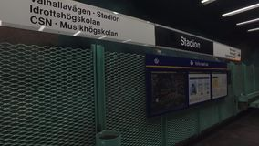 Metro station in Stockholm. Metro station Stadion in Stockholm - platform. Using of glidecam stock footage
