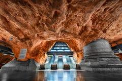 Metro station in Stockholm, Sweden. Escalators in a metro station in Stockholm, Sweden stock photography