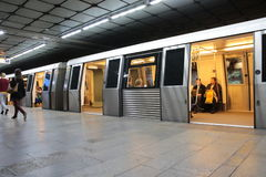 Metro station. Metro stopped at the platform in the subway station in Bucharest,Romania stock images