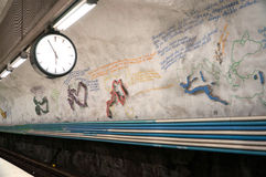 Metro station in Sweden. Rissne metro station is a station on the blue line of the Stockholm metro, located in Rissne, Sundbyberg Municipality Royalty Free Stock Photo