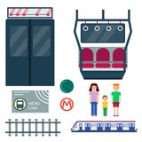 Metro station transportation modern railroad trip transit tunnel vehicle service vector illustration. Metro station vector illustration. Transportation modern Royalty Free Stock Photos